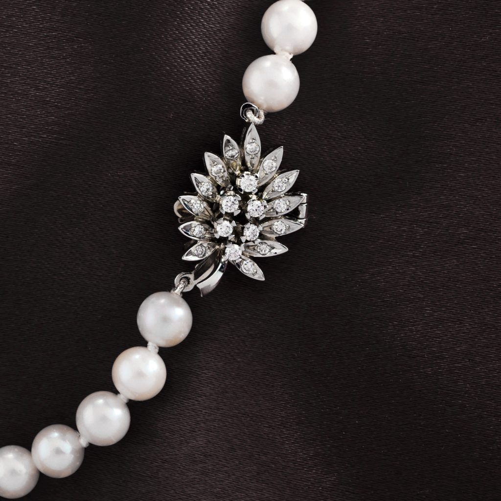 Diamond Leaf Clasp on a Pearl Necklace Daou Jewellery