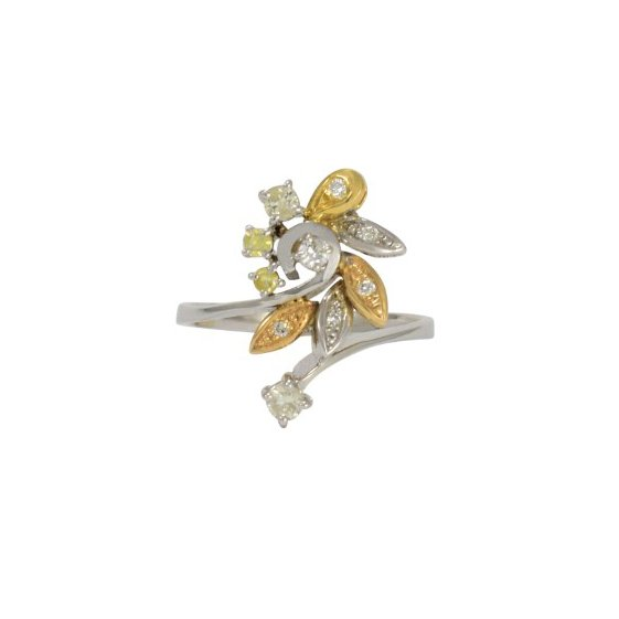 Mixed Gold Diamond Flower Ring