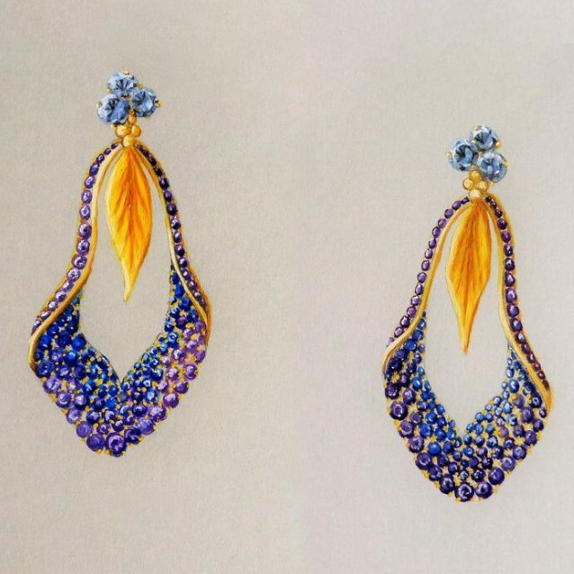 Iris Earring gouache design Daou Jewellery