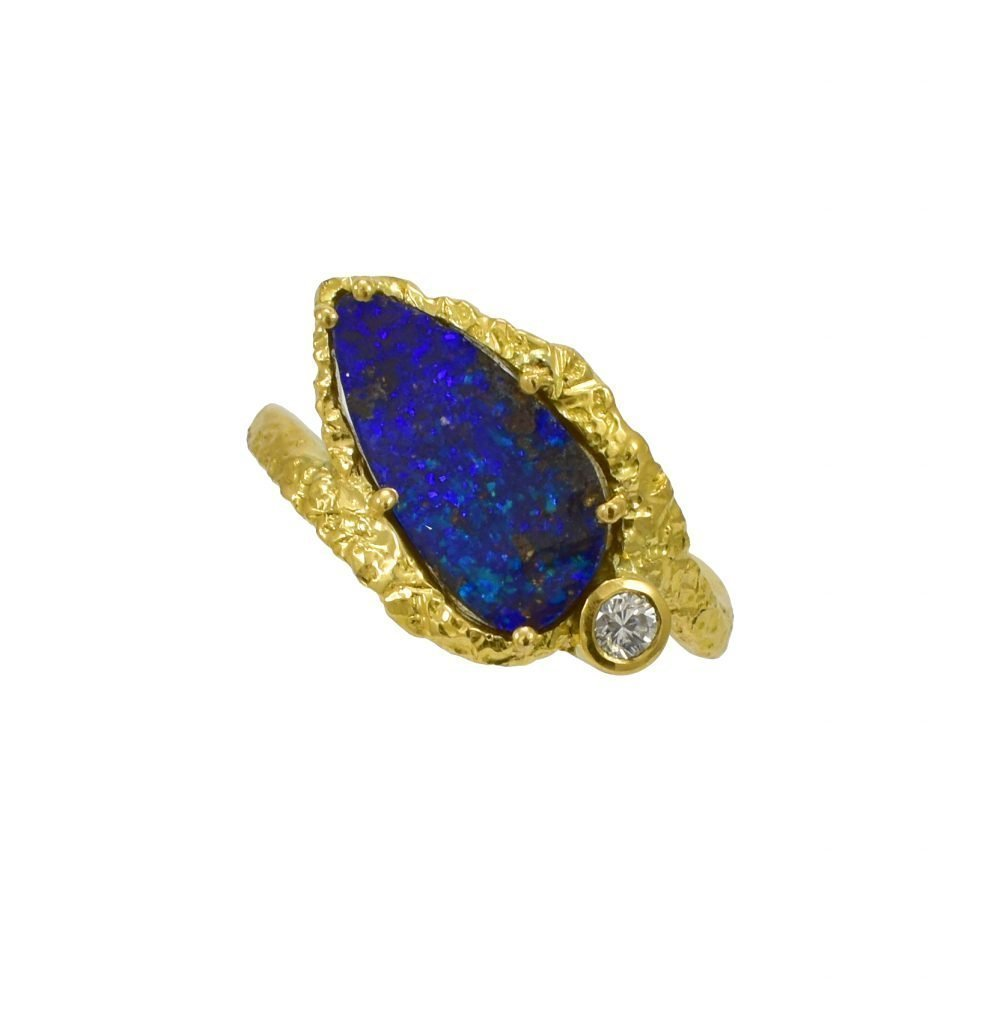 Daou jewellery black opal diamond organic ring