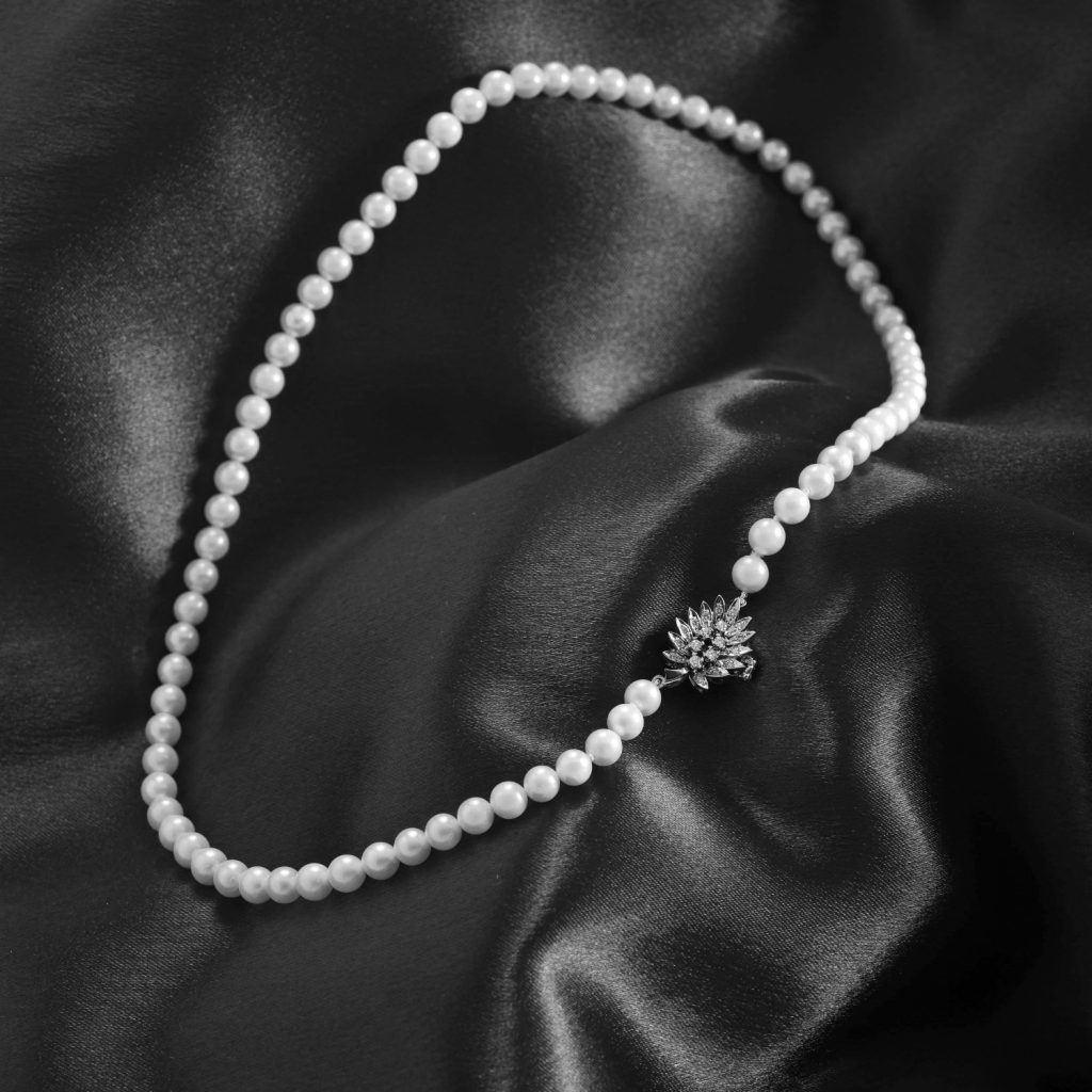 Pearl Necklace with Diamond Leaf Clasp Daou Jewellery