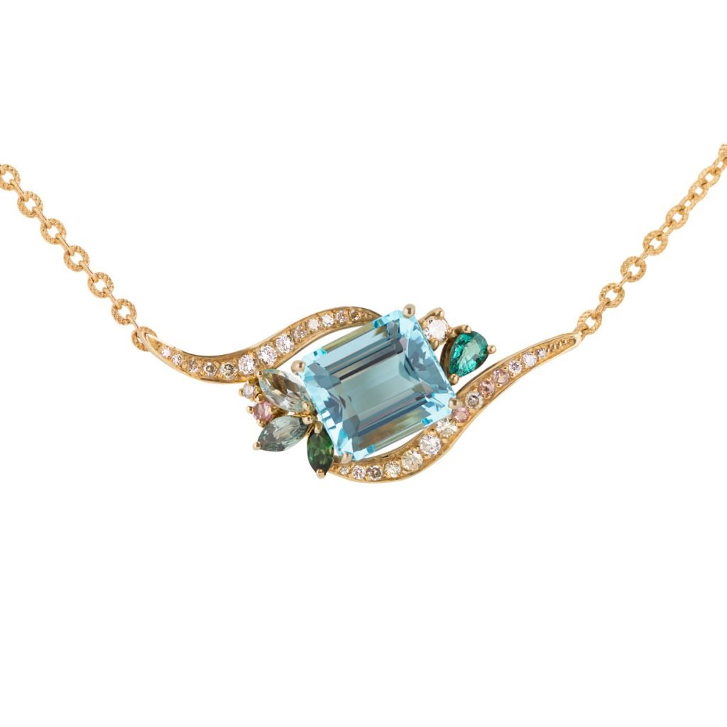Phoenix Aquamarine Tourmaline Sapphire Diamond Revive Pendant Daou Jewellery
