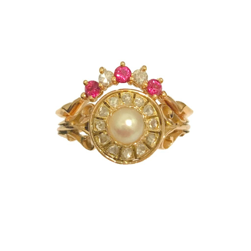 Ruby and Diamond Wedding Ring to fit Pearl Antique Engagement Ring - made from Grandmother's rings Daou Jewellery