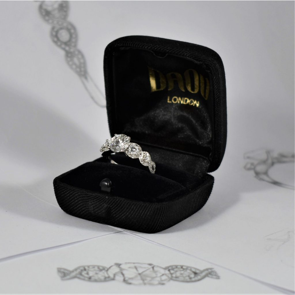Helix Diamond Trilogy Engagement Ring Daou Jewellery