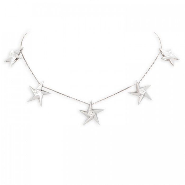 Daou Jewellery White Gold & Diamond Star Light Necklace 528exTS