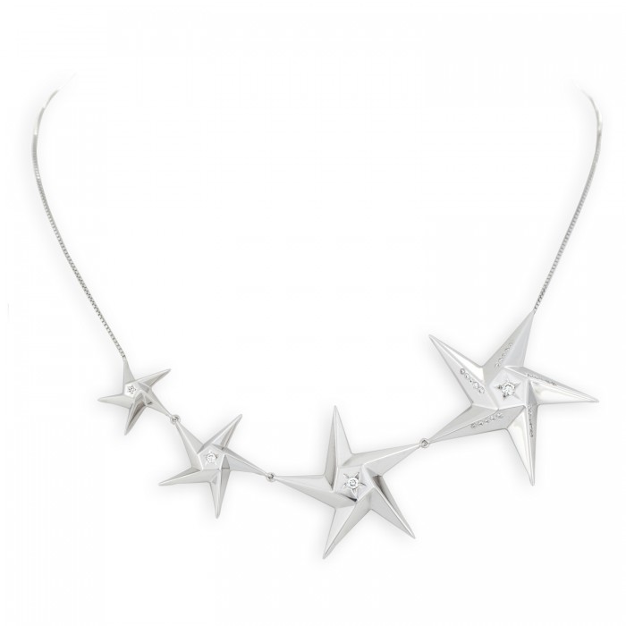 Daou Jewellery White Gold & Diamond Star Light Necklace