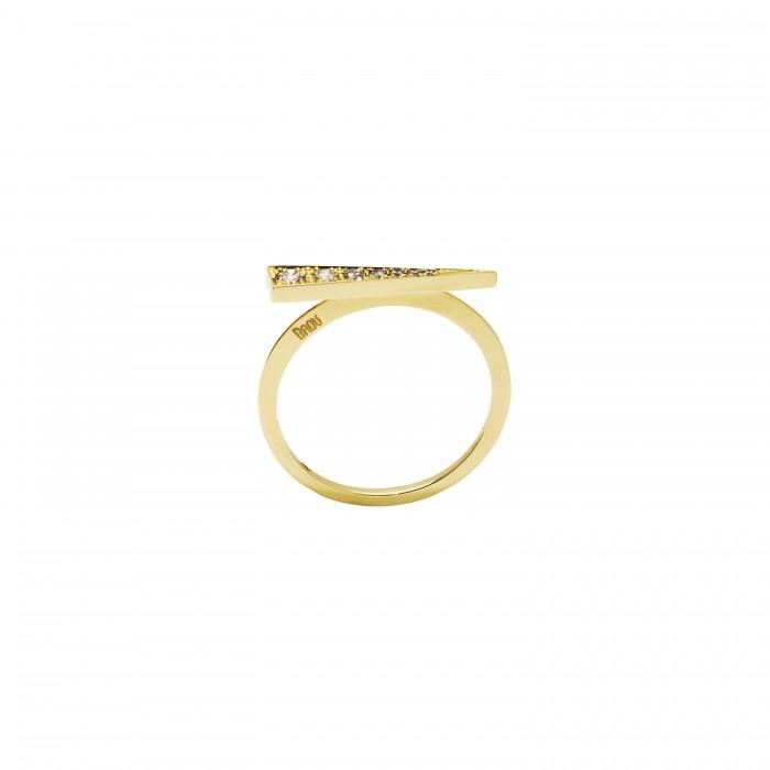 Daou Jewellery Gold & Champagne Diamond Spark Ring - UK O - US 7 1/4 - EU 56 OL9eb