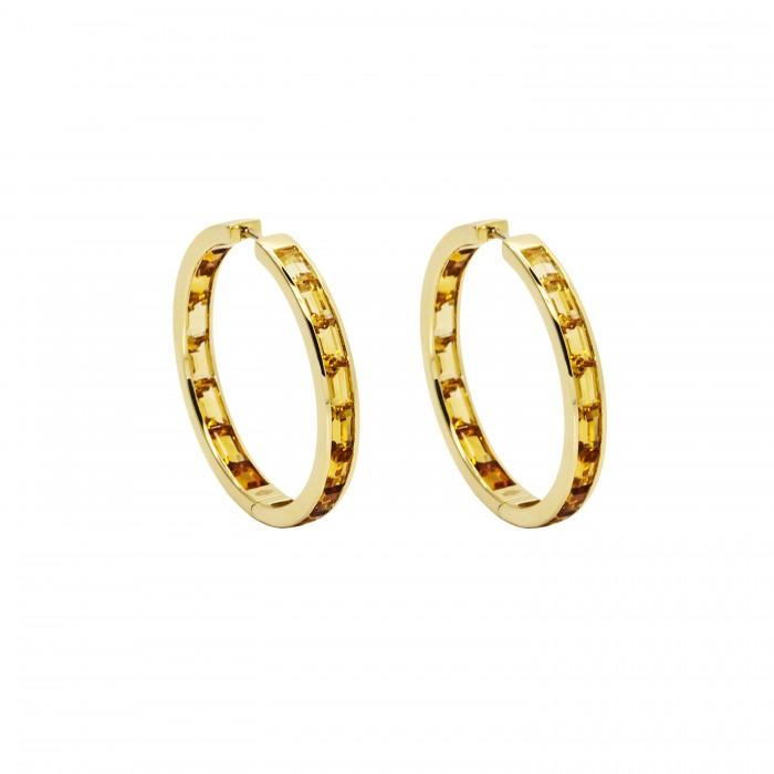 Golden Hoop Earrings Dalia Daou Jewellery London