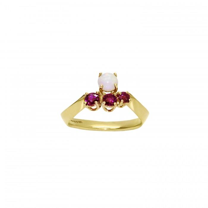 Ruby And Opal Neutron Ring Dalia Daou Jewellery London