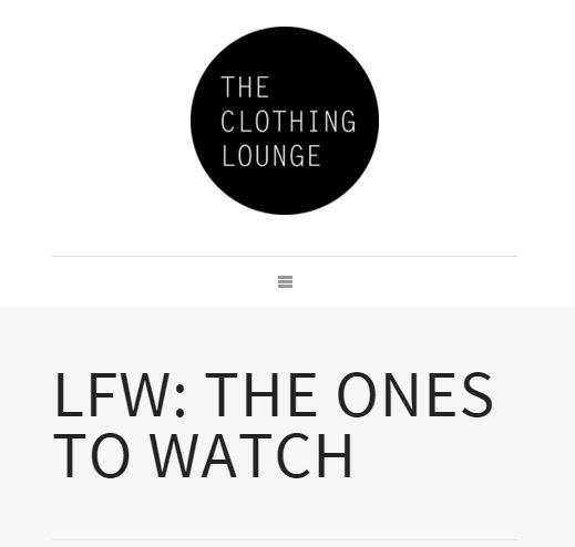 The Clothing Lounge – LFW One to Watch