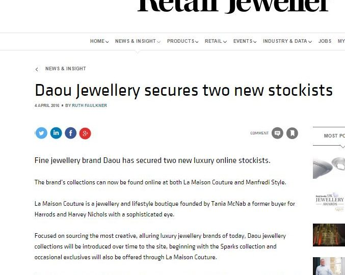 Retail Jeweller – Two New Stockists for Daou