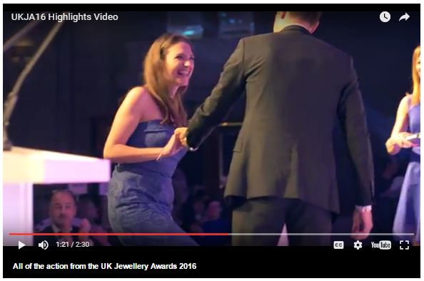 UK Jewellery Awards video capture Dalia Daou receiving award RJ