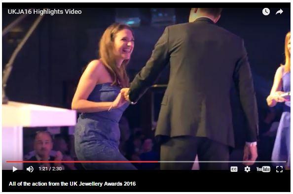 UK Jewellery Awards video capture Dalia Daou receiving award RJ