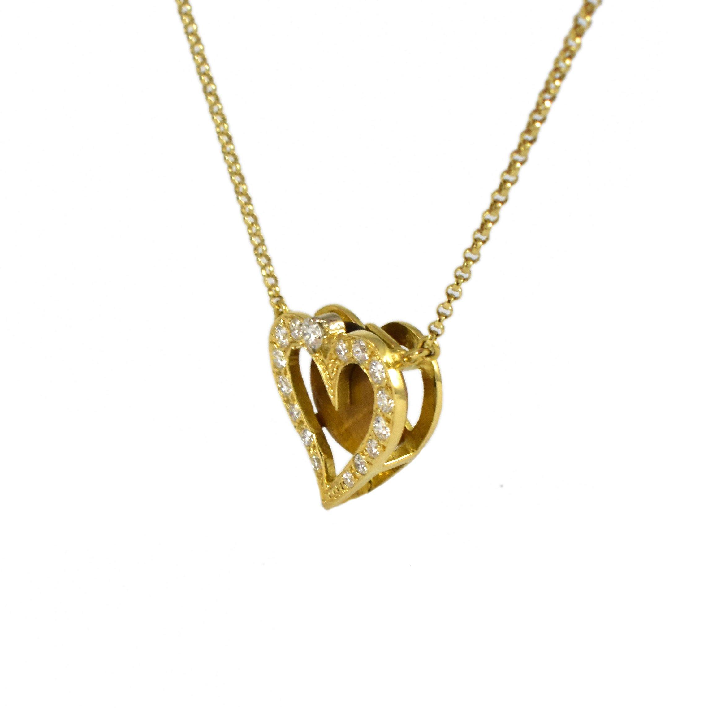 Daou Jewellery 18kt Gold & Diamond Heart in Heart Pendant - 18 inch, 45 cm