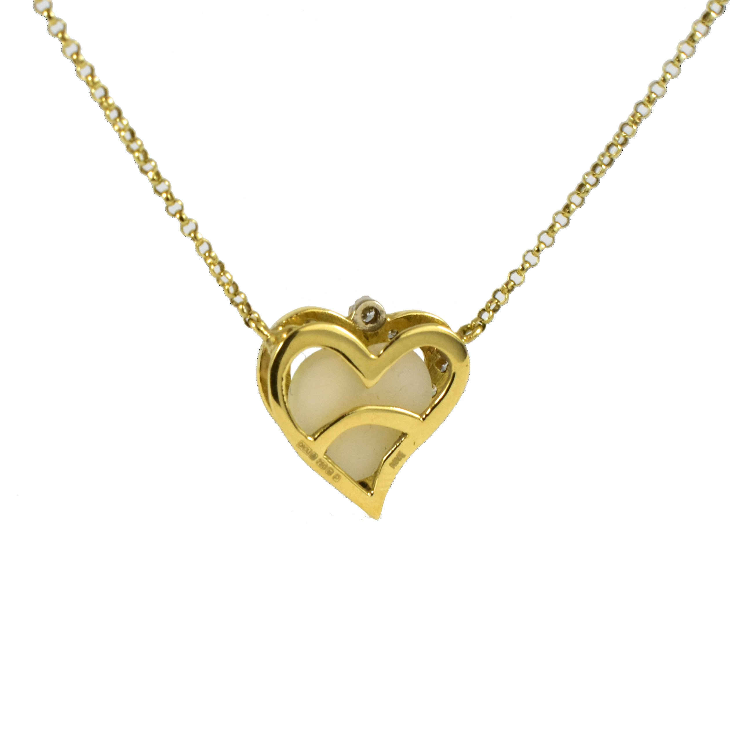 Daou Jewellery 18kt Gold & Diamond Full Heart Pendant - 16 inch, 40 cm