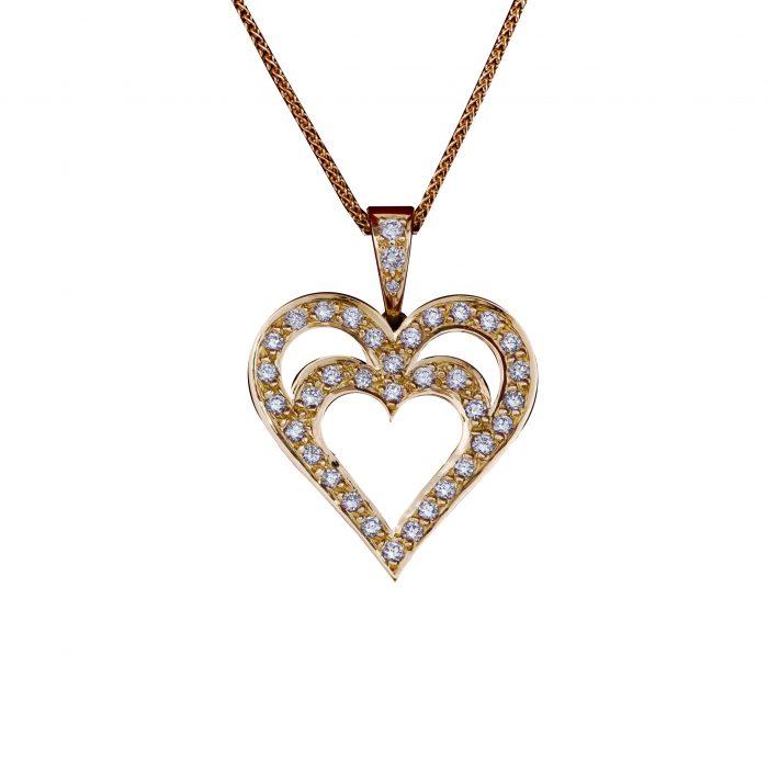 Daou Jewellery 18kt Gold & Diamond Open Heart Pendant OJ2hF
