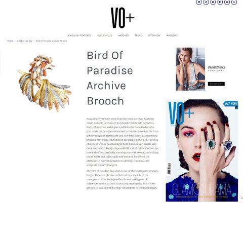 VO+ Bird of Paradise Brooch Daou Jewellery statement jewellery statement brooch gold ruby coral