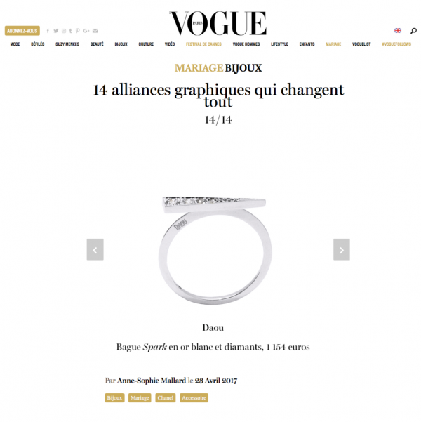 Vogue Paris Daou Jewellery Spark Diamond Ring May 2017 Wedding Ring