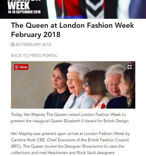 British Fashion Council London Fashion Week – The Queen Press Release