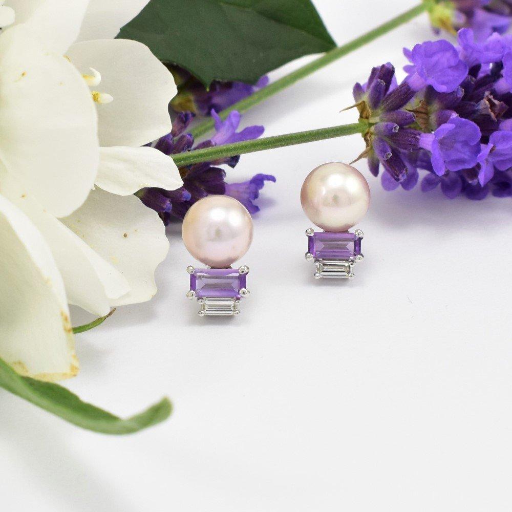 Pearl Amethyst Diamond Earring Daou Jewellery